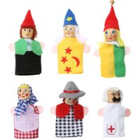 6PCS/Set Cartoon Kids Hand Puppet Doll Toy Gift Finger Dolls Cute Clown Shape Father Mother Hand Toys Story Telling Props