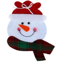 Christmas Gift Decoration Dinner Tableware Cutlery Knife Spoon Fork  Holder Case Bag Cover Snowman Christmas Party Decor