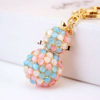 Crystal Diamonte Pearl Keyring Charm Pendant Purse Bag Key Holder Keychain Colorful Calabash Key Ring Girls Gifts