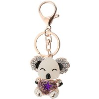Cute Full Rhinestone Luxury Pendant Bear Keychain Gift Car Keychain(Purple)