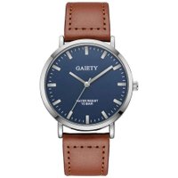 Fashion Big Round Dial Watch for Men Casual Leather Band Quartz Watch Gift