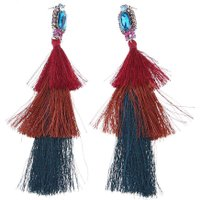 Fashion Earring Women Girl Elegant Vintage Style Multicolor Inlaid Multi Layer Tassel Drop Earrings Jewelry Gift