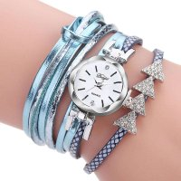 Fashion PU Leather Watchband Smooth Rhinestone Quartz Bracelet Watch Gift