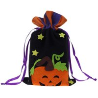 Halloween Non-woven Fabric Cloth Handbag Kids Pumpkin Gift Sugar Drawstring Bag Party Favor Gifts Red Love Print