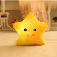 Star Glow LED Luminous Light Pillow Cushion Soft Relax Gift Smile Yellow